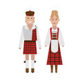 Scottish national costume illustration of dress on white background Stock Photos
