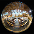 Scottish parliament fish eye view of the interior of the building in edinburgh Royalty Free Stock Photo