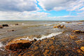 Scottish seashore on sunny day, Longnaddry Stock Photos