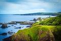 Scottish summer landscape, St Abbs village, Scotland, UK Royalty Free Stock Photo