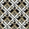 Scottish tartan grunge seamless pattern with leopard skin spots and dog paw. eps10 Royalty Free Stock Photo