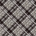Scottish tartan grunge seamless pattern with leopard spots. Plaid with animal skin on white background Royalty Free Stock Photo