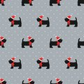 Scottish terrier in xmas hat seamless pattern.