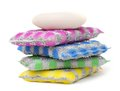 Scouring pads pack and soap on white Stock Photo