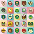 Scout badge emblem stamp icons set, flat style Royalty Free Stock Photo