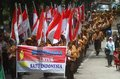 Scout parade hundred of young doing in order to commemorating indonesian day in solo central java indonesia Stock Photo