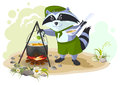 Scout raccoon cooking soup over campfire. Summer holidays camping Royalty Free Stock Photo