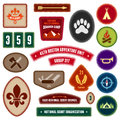 Scouting badges set of and merit for outdoor activities Royalty Free Stock Images