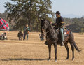 Scouting the enemy a union cavalry scout looks over positions during a reenactment at hawes farm in anderson california on october Stock Photo