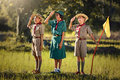 Scouts three ready Royalty Free Stock Photo