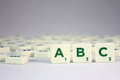Scrabble abc letter pieces from a game Royalty Free Stock Photos
