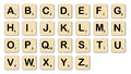 Scrabble the complete set of letters in a set of Stock Photo