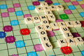 Scrabble game polish words of the Stock Image