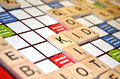 Scrabble game result scores close up focus word kid Royalty Free Stock Image
