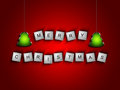 Scrabble letters spelling merry christmas greetings over red background Stock Images