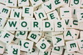 Scrabble words bunch of pieces with word in the center Stock Photo