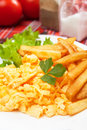 Scrambled egg with french fries