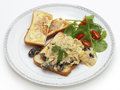 Scrambled egg mushroom and salad plate a breakfast or light lunch of eggs on toast made with fried mushrooms shallots served with Stock Images