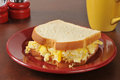 Scrambled egg sandwich a on white bread Royalty Free Stock Image