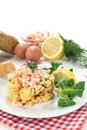 Scrambled egg with shrimp Stock Photos
