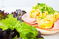 Scrambled egg toast Royalty Free Stock Images