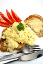 Scrambled egg on toast vertical