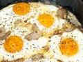 Scrambled eggs with bacon Stock Photos