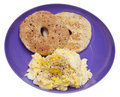 Scrambled Eggs and Bagel Breakfast Royalty Free Stock Photo