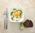 Scrambled eggs with broccoli. Broccoli Royalty Free Stock Photo