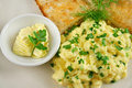 Scrambled Eggs With Butter And Toast Royalty Free Stock Photo