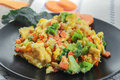 Scrambled Eggs with carrot and broccoli Royalty Free Stock Photo