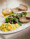 Scrambled eggs with mixed salad Stock Image