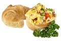 Scrambled eggs on a roll with croissant Royalty Free Stock Photos