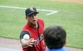 Scranton wilkes barre railriders' alex rodriguez flips the baseball to a young fan Stock Images