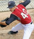 Scranton wilkes barre railriders pitcher yoshinori tateyam warms up Stock Photo