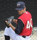 Scranton wilkes barre railriders pitcher yoshinori tateyam warms up Stock Photography