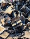 Scrap metal pile of junk garbage Stock Photos