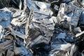 Scrap metal at a scrap yard in the port in Magdeburg Royalty Free Stock Photo