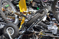 Scrap motorcycles pile of scrapped seized by the police waiting to be crushed Royalty Free Stock Photos
