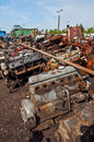 Scrap with old motors on scrap heap a in garczegorze poland Stock Photo