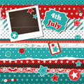 Scrap template for th of july with photo frame Stock Photography