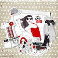 Scrap vintage fashion template with trendy clothes girl and Stock Image