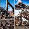 Scrap yard collage with blue sky Royalty Free Stock Image