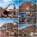 Scrap yard collage with blue sky Stock Images