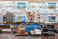Scrap yard waste industrial items at a junk Stock Images