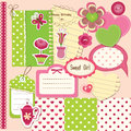 Scrapbook baby girl set of design elements for Royalty Free Stock Photos