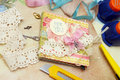 Scrapbook background card and tools with decoration Royalty Free Stock Photography