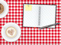 Scrapbook and coffee cups on table vector iillustration with ball point pen cappuccino checkered tablecloth illustration Royalty Free Stock Photography