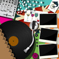Scrapbook collage design dj party abstract music theme background Stock Photography