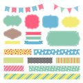 Scrapbook decoration graphic vector elements. Cute frames and banners